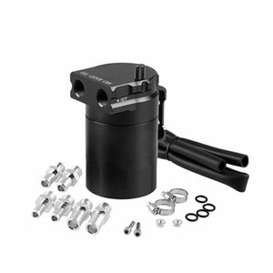 Aluminum Baffled Oil Catch Can Tank Reservoir Breather W 10 14mm Universal Vehicle (Black)