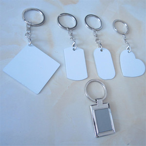 Sublimation Keychain Aluminum Double-sided Key Rings Blank Customized Keychain Heat Transfer Pendant Plate Heart Shaped Square A03