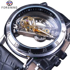 Orologio automatico Forsining design minimalista doppio lato trasparente Uomini affari Corona testa di scheletro Mens Watch Top Brand di lusso