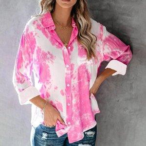 Fashion Women Streetwear Gradient Color Printing Long Sleeve Turn Down Collar Pocket Tie Dye Office Shirt Blouse