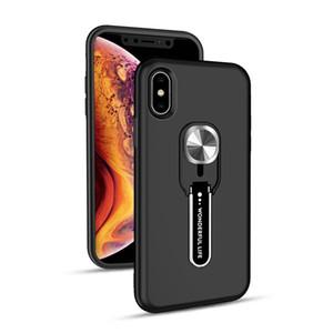 Armure Étui hybride pour iPhone XS MAX XR XS X Invisible Béquille cas double couche antichocs support voiture magnétique mont Case Bague