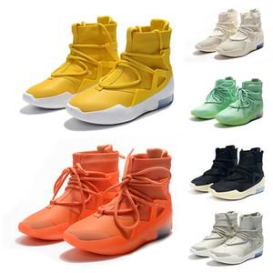 Temor de Dios 1 Hombres Botas 2019 Una luz verde Bone Negro Amarillo diseñador de moda zapatillas de deporte Niebla Cojín de arranque para deportes de los zapatos ocasionales de zoom