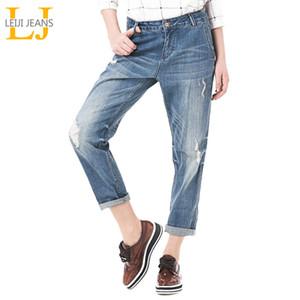 Leijijeans Bahar Artı Boyutu Moda Ripped Delik Ağartılmış Orta Bel Ayak Bileği Uzunluğu Vintage Streç Gevşek Harem Kadın JeansMX190826