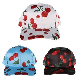High Quality Sports Tennis Baseball Caps Angled Brim Cherry Printed Practical Outdoor Riding Running Cycling Sunscreen Hat