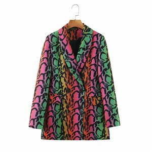 2020 Spring Autumn Blazer Women Casual Loose Slim Coat Blouses Women's Snake Print Tops New Single Breasted Blazer Feminino