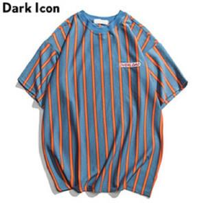 Vertikale Streifen übergroße Männer-T-Shirts Kurze Hülsen-Sommer-neue koreanische Art-lose T-Shirt Männer männlich T Cotton