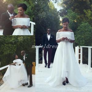 Высокий низкий Белый свадебные платья 2019 с плеча развертки поезд фиолетовый бусины черная девушка сад страна пляж свадебные платья vestido де novia