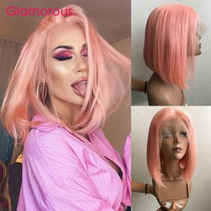 الوردي الباروكة بوب 150 الكثافة قصيرة الجبهة الرباط الباروكات الشعر الإنسان للنساء قبل اللون بوب الباروكات البرازيلي مستقيم ريمي شعر مستعار