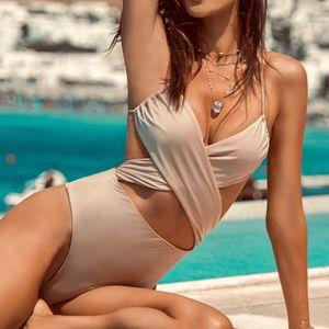 Vintage Nü Siyah One Piece Mayo 2020 Çapraz Kayış Seksi Push Up Plus Size Mayo Kadınlar parça bikini Yüzme Yıkanma Suits
