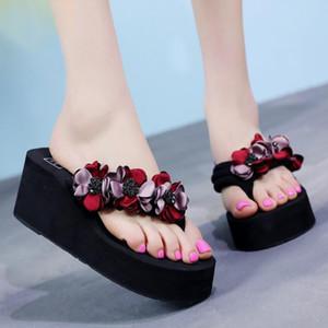 flores nova moda Hot Mulheres Verão artesanais lisas dos flip flops calcanhar Casual sandália Praia Chinelo Feminino plataforma Início Sapatos B57