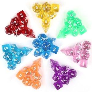 Nuevo diseño 7 piezas dados de colores claros dados transparentes para juego de mesa Bar Cambling Playing Rpg Game Club Party accesorios DND Dice M511Y