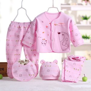 Baby Set Newborn 0-3 Months Clothes Five-piece Boy Girl Cartoon Long Sleeve Tops+Hat+Pants +Bibs Baby Girl Pajamas Sets