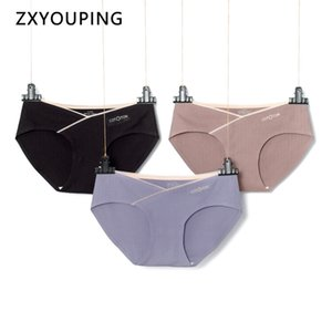 3pcs cintura baixa Calcinhas grávida underwear grande tamanho M-4XL Algodão Seamless Briefs V-shaped Belly Apoio Maternidade Lingerie Y200425
