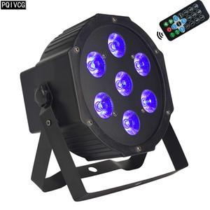 Işık dj parti boyanması 4in1disco Uzaktan kumanda Led 7x12w Par ışık RGBW DMX sahne düz par ışık yanar