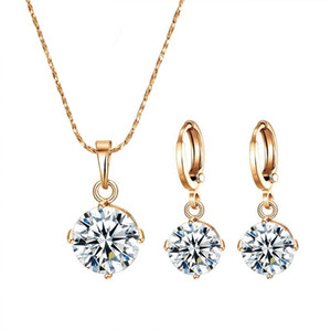(206S) 18k Gold Filled única pedra Jogo da jóia Mulheres (colar de pingente e brinco) de alta qualidade não é alérgico