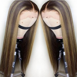 Lace Front Human Hair Wigs Peruvian Virgin Hair Glueless Pre Plucked With Baby Hair Ombre Straight Highlights Honey Blonde Color Wig