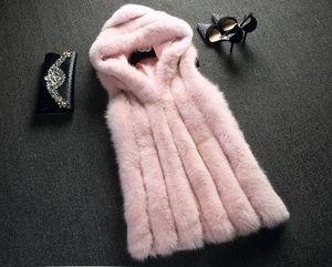 Escudo de piel falsa de invierno ocasional de las mujeres caliente delgado encapuchado sin mangas del chaleco de la piel de imitación gruesa capa de la chaqueta de las mujeres Tanques Casaco Feminino