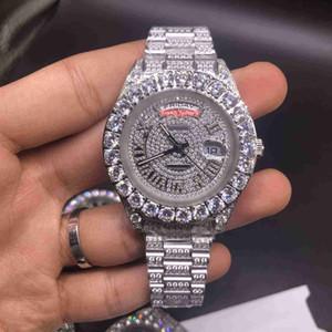 Moda Watch Diamante relógio Prong Set Diamante Relógio de pulso inoxidável diamante relógios em aço de Homens Mecânico Automático