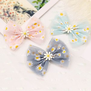 Burst small daisy flower hair clip ribbon hair clip children's mesh crown bow hair clip