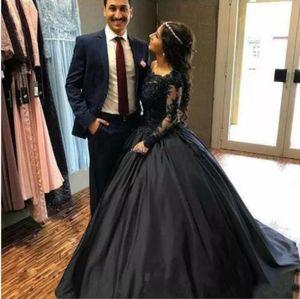 2020 Vintage Black Lace атласная бальное платье готические свадебные платья с длинными рукавами корсет Назад Non Белый Свадебные платья Красочные свадебное платье