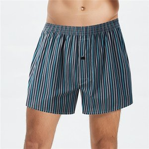 Designer Boxers Breathable Loose Plaid Striped Printed High Waist Mens Underpants Plus Size Male Underwear Cotton Blend Mens