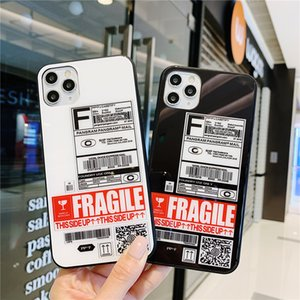 Fashion Tide Tags Barcode Express Slip label Glass Phone Case For Samsung S20 S10 Plus E S9 Note 10 9 Funny Fragile Letter Cover