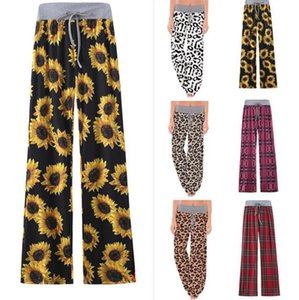 Wide Leg Pants Women Blumensonnenblume Plaid Leopard mit hoher Taille bequeme Hose Stretch Kordelzug Yoga Pants Mutterschaft Trouses OOA8024