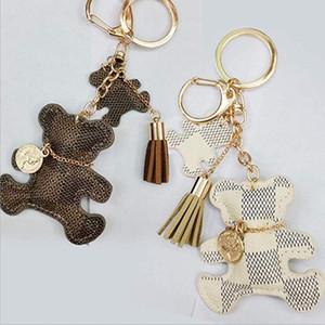 3 colores oso llavero Accesorios borla anillo dominante de cuero de la PU del patrón del oso del coche llaveros Mujeres bolsa de la joyería del encanto de Navidad M937F regalo