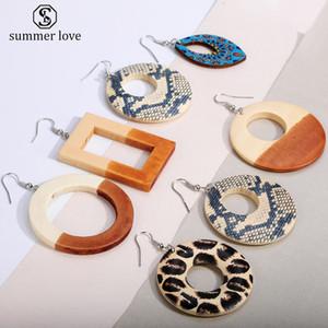 Nuevo diseño impreso lado doble de madera geométrica redonda cuelga el gancho de gota pendiente Leopard Fashion joyería colorida para las mujeres