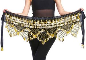 Женщины Belly Dance Hip шарф юбка Wrap с монетой Бархатной танец живота пояс 268 монетами