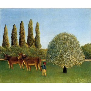 Modern oil paintings Landscapes art Meadowland Henri Rousseau animal picture Handmade wall decor