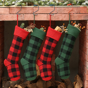 Knit Bas de Noël Buffalo Vérifiez chaussettes de Noël Plaid bas de Noël de sucrerie sac cadeau intérieur Décorations de Noël 5color GGA2769