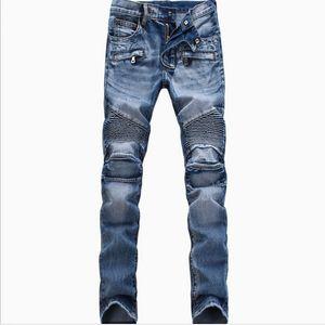 Homens Moda rasgado Biker Jeans Homem afligido Moto Denim Corredores Lavados plissadas motocicleta Calças Jeans Preto Azul