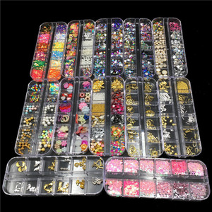 12 Designs Nail Art Decorations Metal Rivets Colorful Nail Rhinestones Perline Perle FAI DA TE Manicure Nail Ornamenti Gioielli Body Art