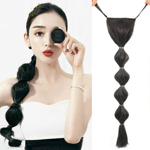 New Synthetic Ponytail Extensions long Straight Clip In Tail False Hair Ponytail Hairpiece With rope Bubble pony tail