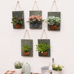 Wooden Board Simulation Floral Plant Wall Decoration American Fashion Creative Living Room Wall Fake Flower Wall Decoration