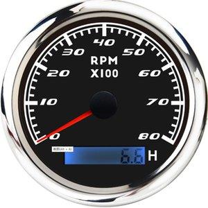 8000 RPM의 85mm 해양 보트 회전 속도계 게이지 유속계 미터 LCD 아워 미터