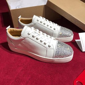 2019 Fashion Designer Spikes Flats Shoes Red Bottom Shoes For Women Mens Luxury Party Lovers Genuine Leather Sneakers Size 35-46xshfbcl