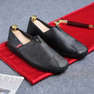 Men Loafers Soft Genuine Leather Peas Lazy Shoes Office Business Shoes Male Moccasins Man Walking Driving Size 38-50