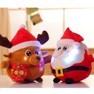 LED que brilla Santa Claus muñeca de la felpa de luz hasta juguetes de peluche Feliz Navidad Decoración Cabritos regalo de la música GGA2803