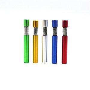 Venta caliente del cigarrillo titular del metal del resorte pequeño tubo de aleación de aluminio Mini Pipes coloridas portátil para adultos 2 2RF H1
