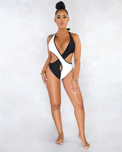 Womens Contrast Color Sling Swimsuit Tight Stitching Hollow Out Summer Bikini Fashion Designer Women Bathing Suit