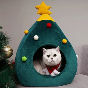 2019 Hot Pet Cat House Dog Bed Kennel Puppy Cave Warm Sleeping Bed Christmas Tree Shape Winter Warm Bed For Cats Dog Cage