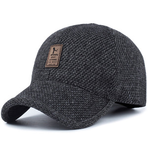 woolen knitted design winter baseball cap for men women warm casual male outdoor cycling ski Hats with earflaps