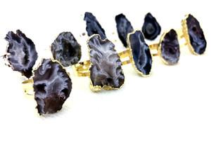 Природные Агатовые Druzy Geode Кусочек кольцо - золото Druzy Сырье Gemstone Природные Нерегулярные Регулируемые кольца Healing камень Агатовые серебряные кольца