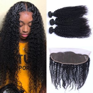 Mongolian Hair Kinky Curly 3 Bundles with Lace Frontal Closure Unprocessed Human Hair Weave Bundles with Frontal