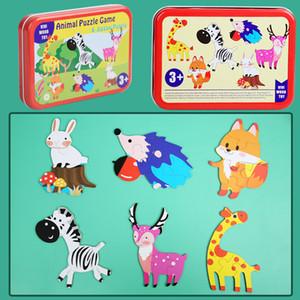 키즈 아기 조기 교육 학습 완구 선물을위한 새로운 3/4 슬라이스 간단한 나무 퍼즐 조각 그림 만화 동물 자동차 나무 장난감