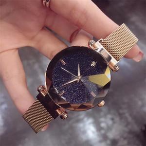 Mujeres al por mayor de relojes de lujo Señora estrellada reloj de cuarzo del dial de acero inoxidable de la manera del diseñador de la hebilla magnética mira el envío de Blingbling gota