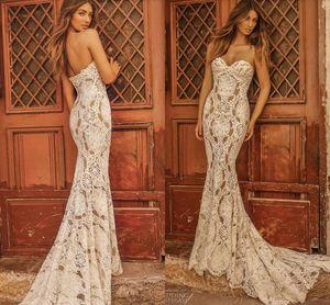Sirena de los vestidos de boda atractivos Berta 2019 lujo sencillo completa de novia de encaje sin espalda del tren del barrido Mar Beach Holiday vestido de novia de la boda