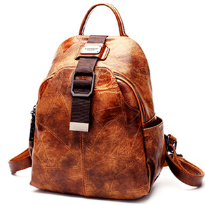 2020 New High Quality Women Patchwork backpack 100% genuine leather Patchwork back pack lady real leather backpacks fashion preppy style bag